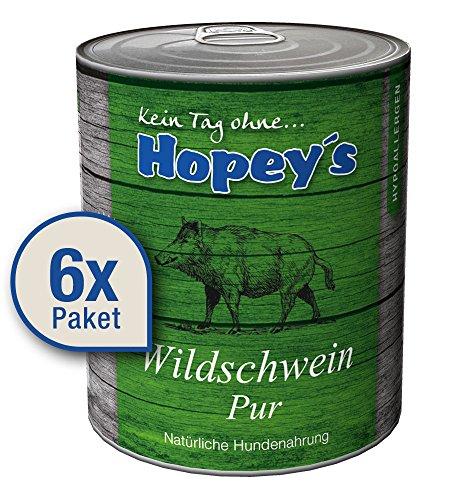 Hopey\'s hypoallergenes Hundefutter: 100{88fbded23aa3fabc6a5ae6129fda07827c29a88a20de906049b2f4fc9890e725} Wildschweinfleisch, Single Protein, Getreidefrei 6X 850g Dosen