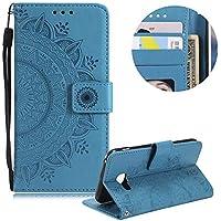 Blau Brieftasche für Samsung Galaxy J3 2017 J330,Gurt Leder Handyhülle für Samsung Galaxy J3 2017 J330,Moiky Ziemlich Jahrgang Mandala Blume Geprägt Klappbar Stoßdämpfende Stand Handytasche