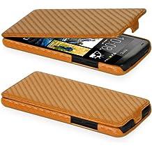 DONZO Flip Carbon-Style Funda para HTC Desire 601 oro
