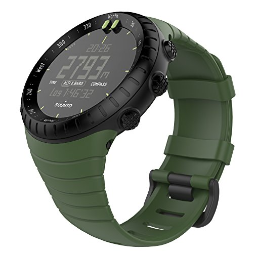 MoKo Suunto CORE Watch Cinturino, Braccialetto di Ricambio in TPU Morbido con Gancio Metallico per Suunto CORE Smart Watch, per Polso 5.51'-9.06' (140mm-230mm), Verde Scuro