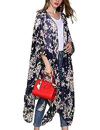 Hibluco Mujer florale Kimono Cardigan Playa Gasa Blusa Tops Bikini Cover Up