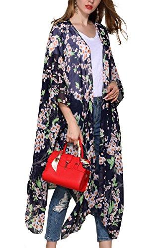 Hibluco Damen Florale Kimono Cardigan Strand Chiffon Bluse Tops Bikini Cover Up