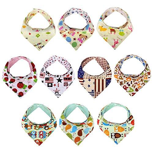 Preisvergleich Produktbild GHB BabyDreieckstuch Lätzchen Halstuch Baumwolle mit Druckknöpfen 10er Set