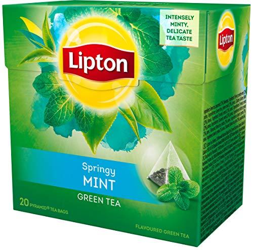 Lipton Grüner Tee Minze Pyramidenbeutel 20 Stück, 3er Pack
