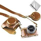 First2savvv marrón Funda Cámara Cuero de la PU cámara Digital Bolsa Caso Cubierta con Correa para Olympus Pen E-PL9 con Lente de 14-42 mm F3.5-5.6 XJD-EPL9-HH09G11
