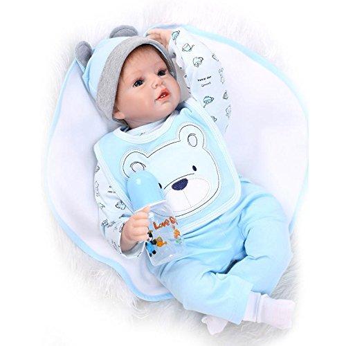 Nicery Reborn Baby Doll Renacer Bebé la Muñeca Vinil Simulación Silicona Suave 22 Pulgadas 55cm Boca Magnética Natural Niña Niño Juguete vívido para 3 años + Oso Azul Babero