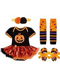 iEFiEL Vestido Calabaza para Halloween Cosplay Conjunto Pelele Body Disfraz Infantil para Bebé Niña + Banda de Cabeza + Calientapiernas + Zapatos