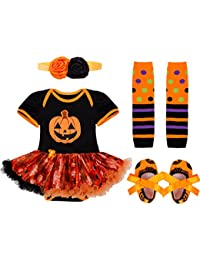 CHICTRY Vestido Calabaza para Halloween Cosplay Conjunto Pelele Disfraz Infantil para Bebé Niña 4Psc Mameluco + Banda de Cabeza + Calientapiernas + Zapatos