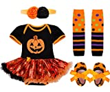 iEFiEL Vestido Calabaza para Halloween Cosplay Conjunto Pelele Body Disfraz Infantil para Bebé Niña + Banda de Cabeza + Calientapiernas + Zapatos Negro 6-9 Meses