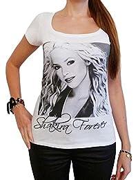 Shakira : T-shirt Femme photo de star,Blanc, t shirt femme,cadeau