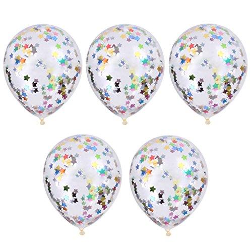 Gazechimp 5pcs Globo de Confeti Decoración Fiesta Bodas Cumpleaños Hincha 12 Pulgada Multicolor