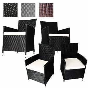 miadomodo polyrattan gartenm bel rattanm bel st hle inkl sitzkissen in 2er und 4er. Black Bedroom Furniture Sets. Home Design Ideas