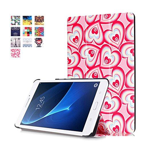 Herz Fällen Tablet (SZHTSWU Kunstleder Tasche für Samsung Galaxy Tab A 7.0 (2016), Farbmalerei Serie PU Leder Hülle Case Schutzhülle Flip Ledertasche mit Ständerfunktion für Samsung Galaxy Tab A 7.0 SM-T280/SM-T285 (7 Zoll) Wi-Fi (2016) Tablet-PC Fantasie Herz)