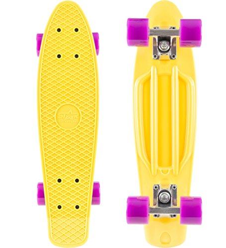 STAR-SKATEBOARDS® Original Vintage Retro Cruiser Skateboard für Kinder und Erwachsene auch Anfänger ab ca. 6 - 8 Jahre ★ 22er Diamond Class ★ Citrus Gelb & Candy Lila (Retro Stars)