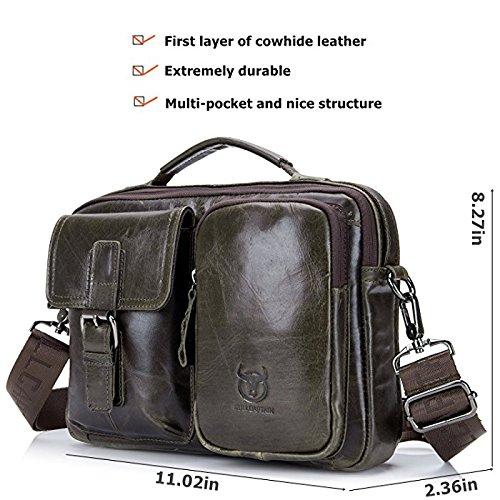 ELASZ Vintage Schultertasche für Männer Echtes Leder Casual Aktentasche Messenger Bag Braun-036