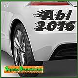 Abi 2018 Aufkleber mit Flammen Auto Autoaufkleber ca. 20x10cm Scheibe Lack Abi2016 Abitur Heckscheibenaufkleber Fun