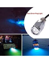 """Bleu Marine Cree LED Lumière sous-marine (IP68 connecteur étanche 6 LED 1/2 """"NPT 12V 9W), NetBoat LED Boat Drainer éclairage enfichable pour la pêche piscine plongée sous-marine, Bateau à moteur Yacht Lighting"""
