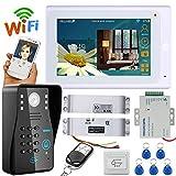 Filaire/sans fil WiFi RFID mot de passe vidéo porte téléphone sonnette interphone avec serrure électrique boulon de chute + IR-CUT HD1000TVL caméra