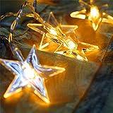 Lichterkette FLOVEME Batteriebetriebene Weihnachtliche mit 20 Stück LED Lichterkette Warmweiß - Transparente Stern für Party Deko, Garten Deko, Weihnachten, Hotel, Fest Deko, Geburtstag, Hockzeit
