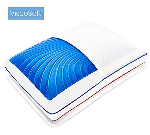 ViscoSoft SeasonSense Almohada gel con memoria de forma, reversible, plumón alternativo, tejido Coolmax, lavable a máquina, 60x 40cm