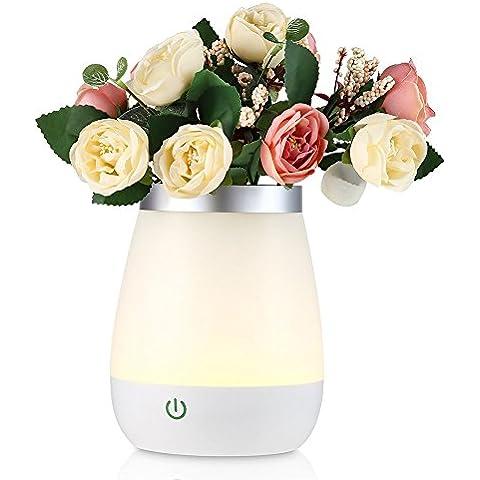 FVTLED LED la lámpara florero Luz de noche para decorativas Flores Luz, USB Recargable Control Táctil Iluminación,350ml