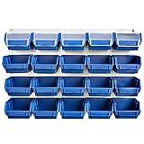 Blau Metall Werkstattwand 21 tlg Werkzeugwand Aufbewahrungsbox Stapelboxen Schraubenregal