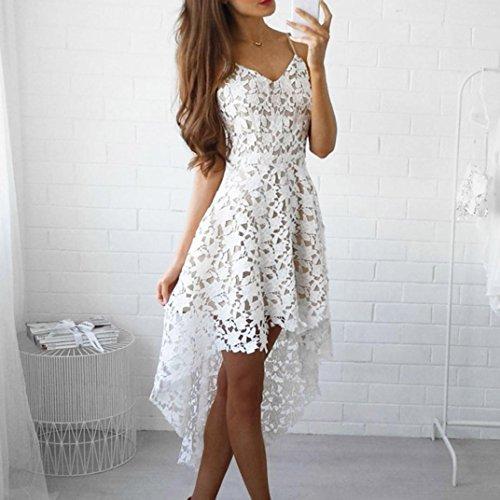 Bekleidung Longra Damen Blütenspitze ärmelloses Sommer Kleid mit ...
