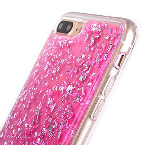 """iPhone 7Plus Handyhülle, iPhone 7Plus Liquid TPU Case, CLTPY Kreativ 3D Fließen Flüssig Bling Schwimmend Treibsand Herz, Glanz Shiny Kristallklar Schale Etui für 5.5"""" Apple iPhone 7Plus (Nicht iPhone  Rose Pink"""