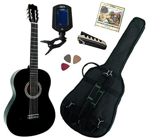 Pack Guitare Classique 4/4 (Adulte) Gaucher Avec 5 Accessoires (noire)