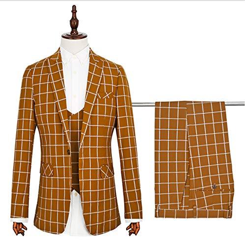 UNIQUE-F Herren Anzüge 3 Stück tailliert geschnittenen klassischen Stil Anzug 1 Knopf Blazer Jacke Weste Hose Hochzeitsfeier XXXXL -