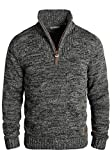 !Solid Philostrate Herren Strickpullover Troyer Grobstrick Pullover Aus 100% Baumwolle Mit Reißverschluss, Größe:3XL, Farbe:Black (9000)