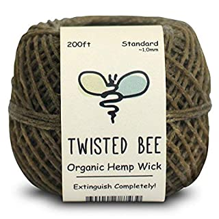 100% Organic Hemp Wick with Natural Beeswax Coating | Twisted Bee (61m x Standard)