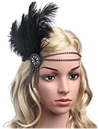 Silver Crystals : BABEYOND Women's Flapper Headband Black Feather Headband For Women Tassel Hair Band Crystal...