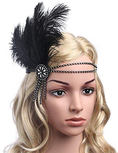 Babeyond Damen Flapper Stirnband Schwarzes Feder-Stirnband Zwanziger Jahre Kristallhaar-Zusätze Tassel Stirnband Straußenfeder (Stirnband Schwarz, Stirnband)