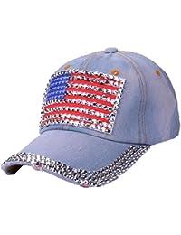 Screenes Señoras De Verano De Bandera Americana Gorra Béisbol Rhinestone  Jeans Estilo Simple Denim Hip Hop e1005e97315