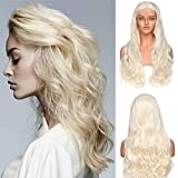Parrucca Bionda Lunga Donna Capelli Mossi Biondi Lace Front Wig 60cm 130% Density Parrucche Cosplay Halloween Pizzo Frontale 12'*3' - Biondo Platino