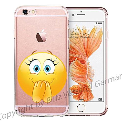 Blitz® EMOJI motifs housse de protection transparent TPE caricature bande iPhone Langue M14 iPhone 4 Rire tranquille M12