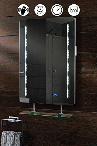 Badezimmerspiegel, LED-beleuchtet, mit Regal, Schutzklasse IP44, beheizt, mit Quartz-Uhr, Sensor, Rasierersteckdose, 500 x 700 mm