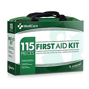 Trousse de premiers soins MediCare Deluxe (115 produits) Les fournitures les plus essentielles pour la maison, le voyage, le camping, le bureau et le milieu de travail