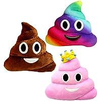 Kompanion Emoji Grande Oreiller Set De 3 En Forme De Caca - Coussin De Peluche Doux Souple - 30x30cm, En Couleurs Marron, Rose Princess Et Arc En Ciel