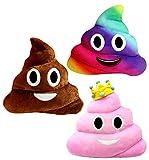 Almohada Grande Estilo Caca - Set de 3 – Emoticono Popo Sonriente Color Arcoíris – Cojín de Emoticon de Peluche JugueteSuave Regalo WhatsappPoopMierda –30x30cm, Colores Marrón Café, Rosa y Arcoíris