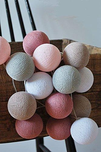 LED-Lichterkette Textil-Ball-Girlande Petit-cb 10, 20, 35 oder 50 Kugeln Cotton Ball Lights, Größe:10 Cotton Balls Line