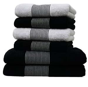 handtuchset liness lot de 6 stripes noir blanc avec 2 draps de bain 70 x 140 cm et 4. Black Bedroom Furniture Sets. Home Design Ideas