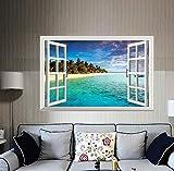 SANDIN Adesivo da parete con grande finestra mare 3D con vista sulla finestra, decalcomanie smontabili in PVC per la casa, manifesti fai-da-te per soggiorno, camera da letto, sala da pranzo