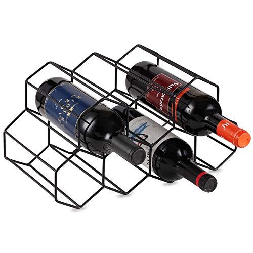 Storage-system (Buruis Metall Weinregal Wine Storage System-Kühlschrank Oder Bench Speicherung und Schutz für Rot Wein & Weiß Weine Sicher Stack 7Flasche Schwarz)