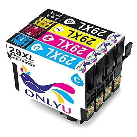 ONLYU 4-Pack Compatible Epson 29 XL 29XL Cartouche d'encre pour