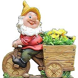 Design Zwerg mit Blumentopf NF 15156-2 Fahrrad XL 36 cm Hoch Deko Garten Gartenzwerg Figuren DekorationDesign