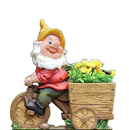 Diseño enano con cabeza de flor NF 15156-2 Bicicleta XL 36 cm Alto Deko Jardín enano figuras en miniatura Decoración Diseño
