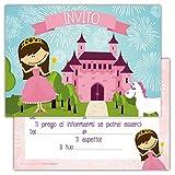 Partycards Set di 12 inviti compleanno Biglietti invito per festa compleanno Per Bambini e Adulti in Italiano- Principessa castello
