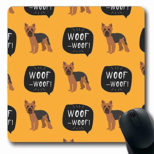 Mousepads Lustiger Hund Browns Yorkie Yorkshire Terrier Kleiner Welpen-Dachshund-Schwarz-Bogen-Entwurfs-Muster-rutschfeste Spiel-Mausunterlage Gummi-längliche Matte -